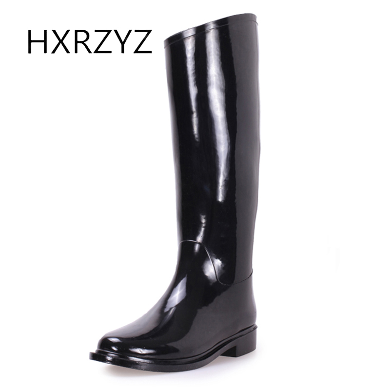 HXRZYZ ladies black rubber boots female knee-high rain boots spring and autumn new fashion slip-resistant waterproof shoes women water shoes spring and autumn woman warm rain shoes and ankle rain boots lady waterproof fashion rubber boots