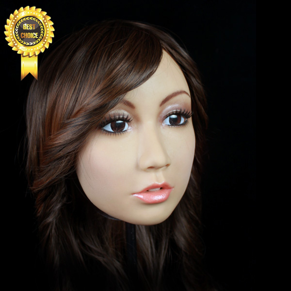 SH-1 party mask  CD CHANGE sissy boy whloesaler free shipping  female mask cross dressing Halloween full head mask  with wig [sf 11] fixed with zipper sissy boy rubber latex mask cross dressing halloween horror female mask female mask sissy boy