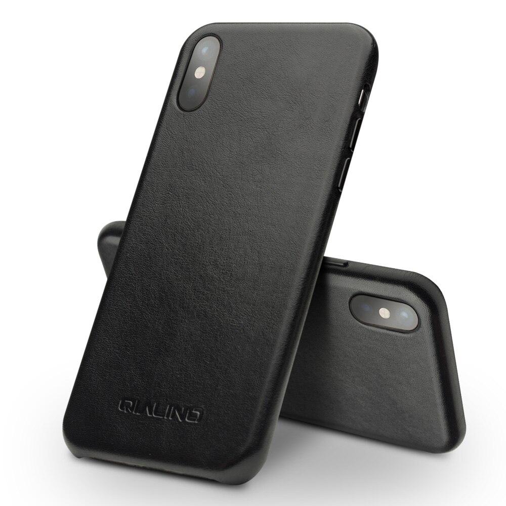 QIALINO Véritable En Cuir Ultra Mince Téléphone étui pour iPhone X/10 Luxe Kangourou Peau Couverture Arrière pour iPhone x pour 5.8 pouces