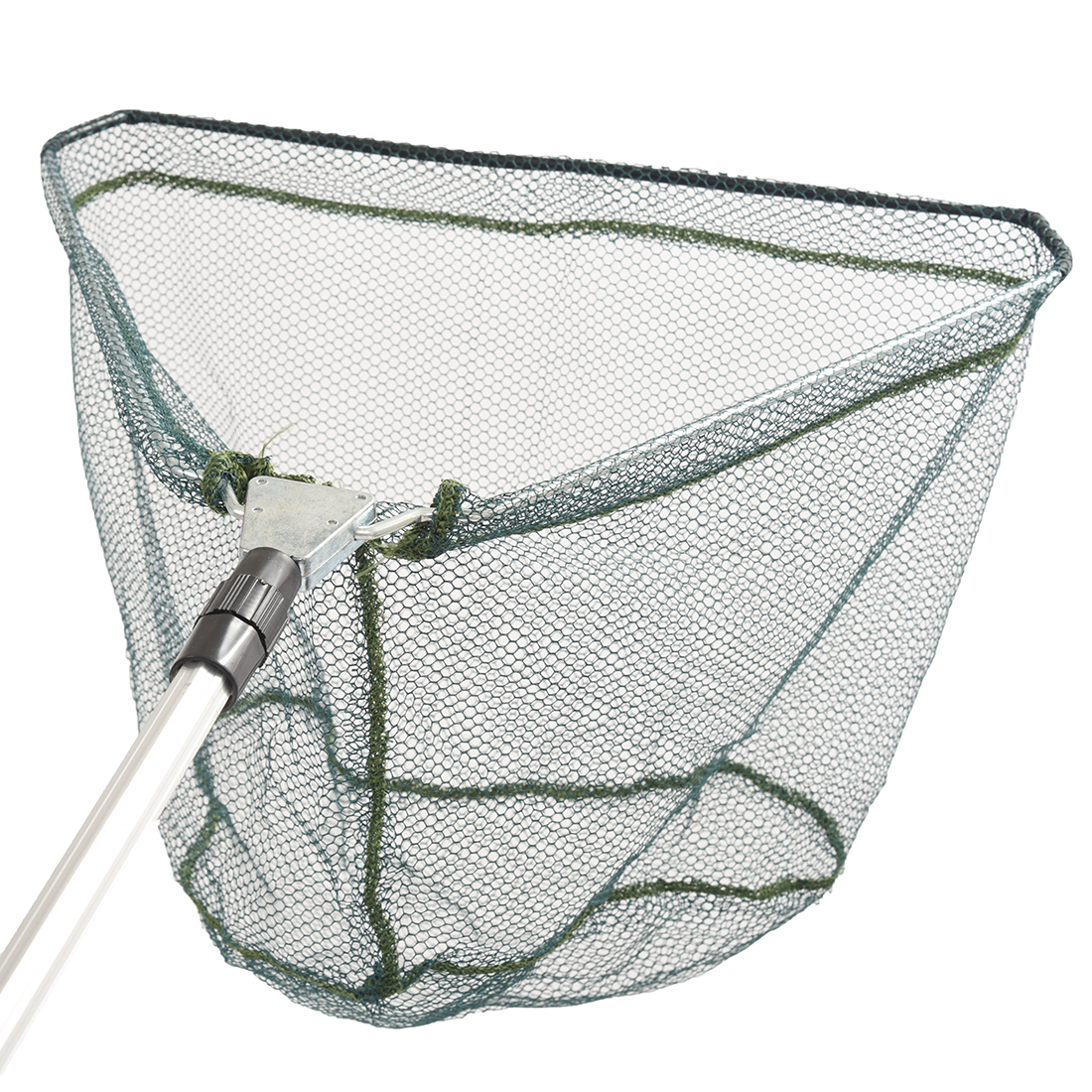 Triangular Folding Fishing Landing Net Aluminum 3 Section Extending Pole Handle green аксессуар sp section pole 53110