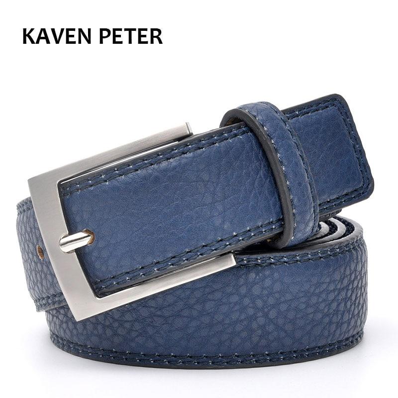 Fashion Accessories Trends Jeans Belt Men Cowskin  Blue Dress With Belt Accessories For Men Trouser Waistband Silver Metal Belt