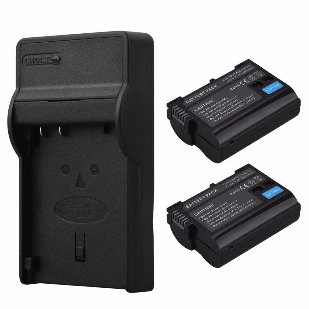 2x2550mAh EN-EL15 EN EL15 ENEL15 Li-ion Battery+USB Charger for Nikon DSLR D600 D610 D800 D800E D810 D750 D7000 D7100 V1 Bateria