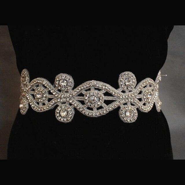 2017 Crystal Rhinestone Floral Shape Bridal Belt Wedding Sash Dress Jewelry 010