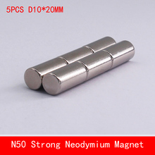 wholesale 5PCS D10*20mm N50 powerful magnetic force neodymium magnets magnet strong diameter 10X20MM