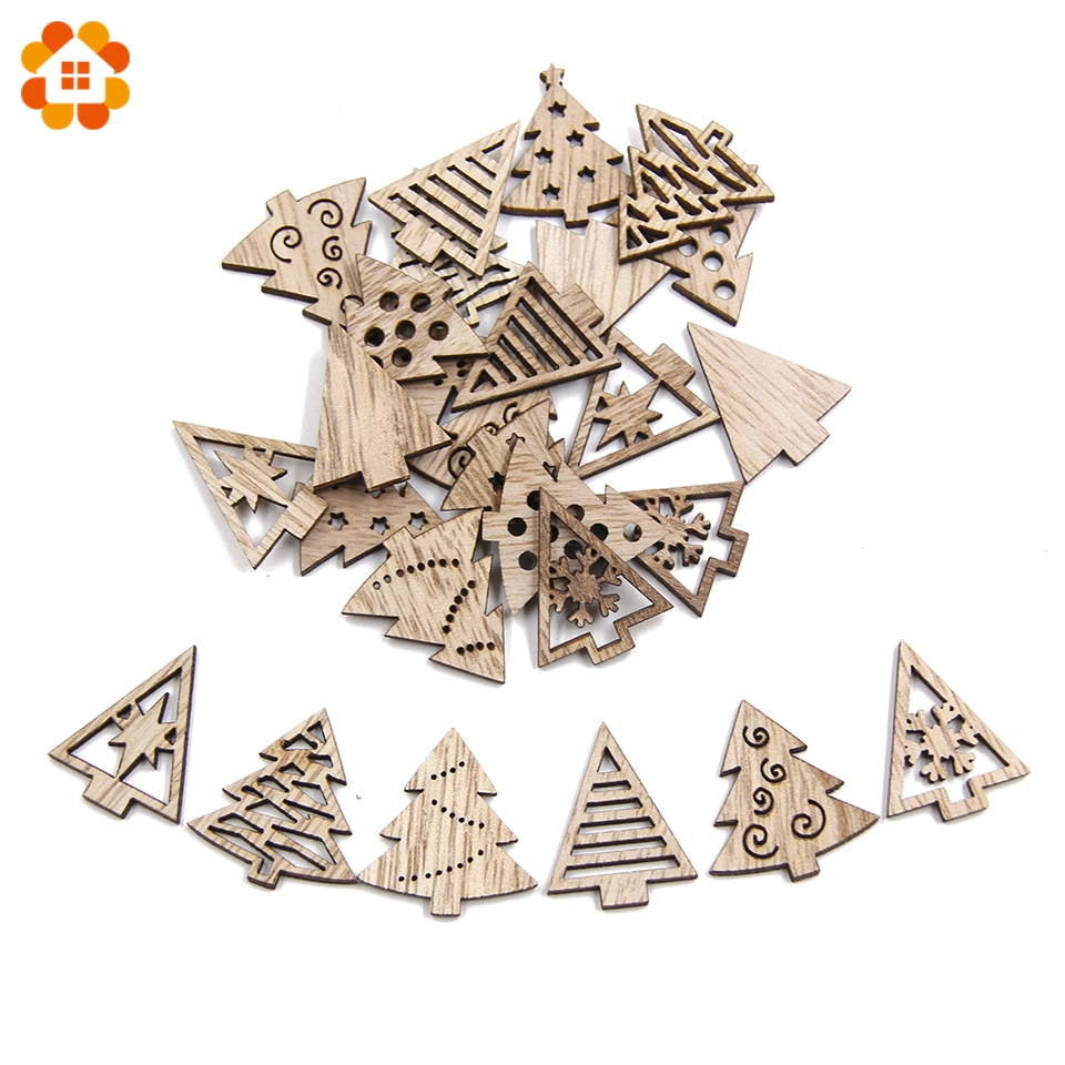 Creative Mini Wood Chips DIY Craft Christmas Wooden Ornaments DIY Scrapbooking Supplies Kids Gift Christmas Party Decorations in Pendant Drop Ornaments from Home Garden