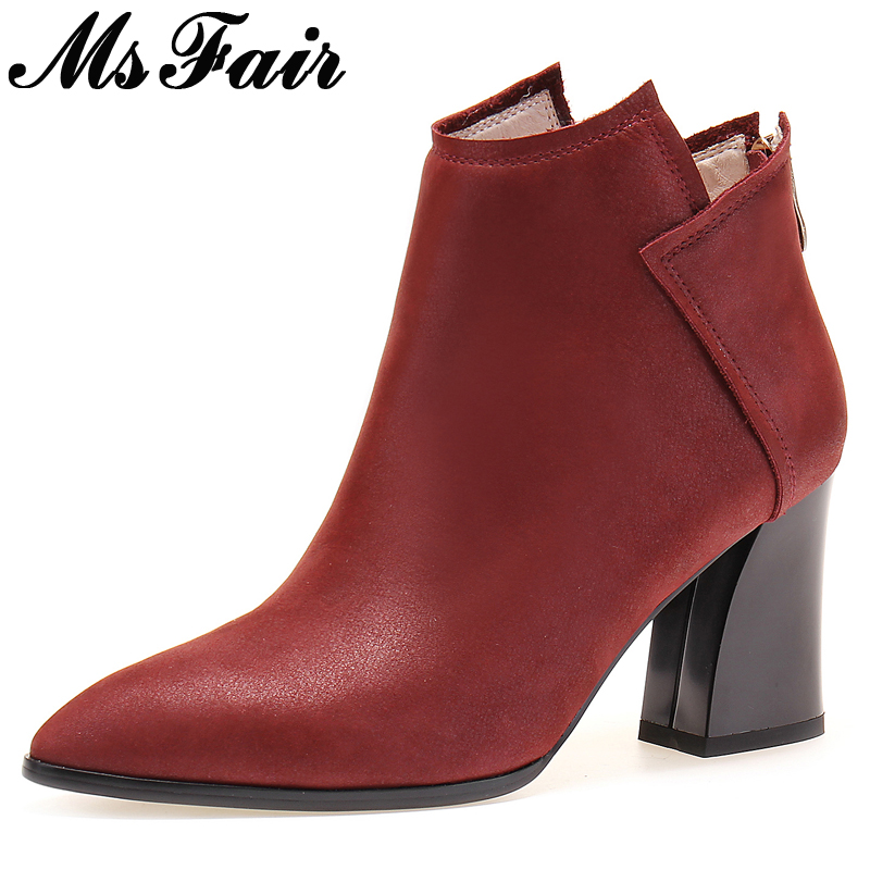 MsFair Pointed Toe Super High Heel Women Boots Casual Fashion Square heel Ladies Ankle Boot 2017 New Winter Zipper Women's Boots nemaone 2018 women ankle boots square high heel pointed toe zipper fashion all match spring and autumn ladies boots