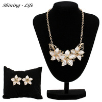 Austrian Crystal Enamel Flower Jewelry Sets Vintage Women Maxi Gold Silver Plated Statement Necklace Jewelry Parure