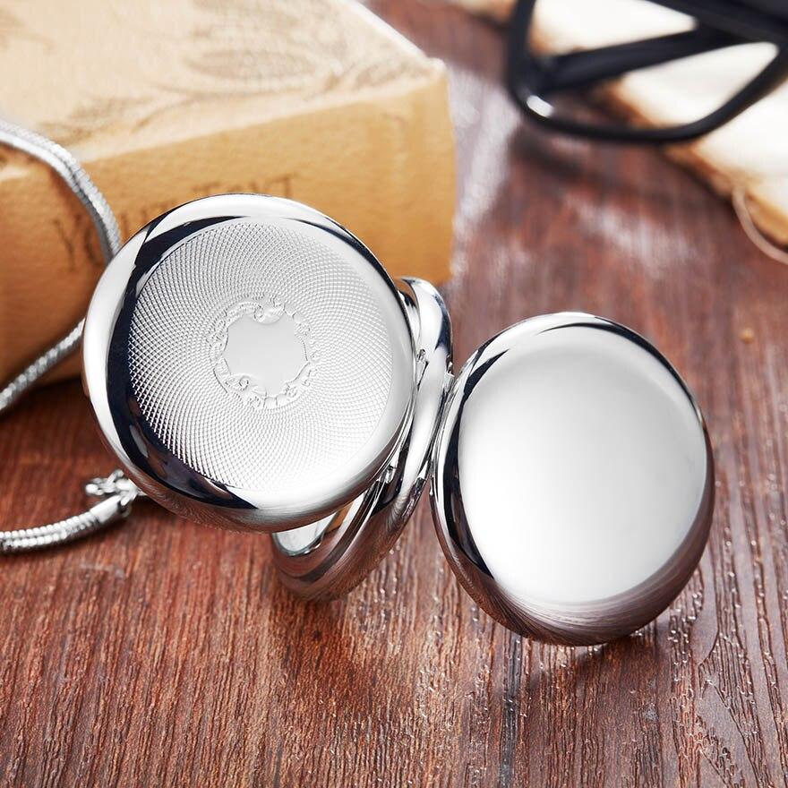 Montre de poche mécanique de couleur argent de luxe avec chaîne main vent cuivre or Fob montres sans batterie hommes chiffres romains horloge