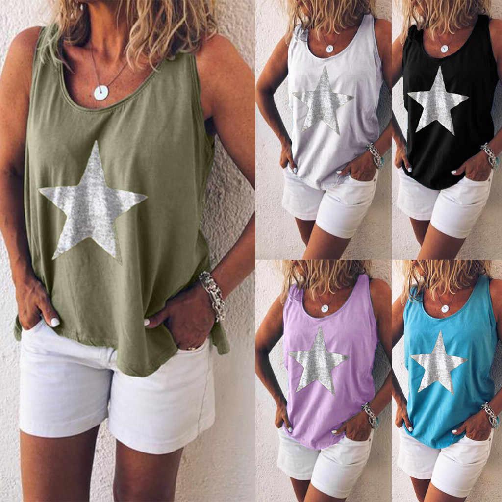 Women Summer Print Loose Sleeveless Casual Halter Tank T-Shirt Blouse Tops Vest