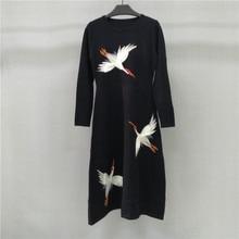 Kenvy высокого класса люксовый бренд женские зимние осень крокодил с длинными рукавами вязаное длинное платье