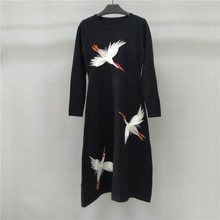 KENVY High-end luxury brand women's winter autumn  crocodile long-sleeved knitted long dress