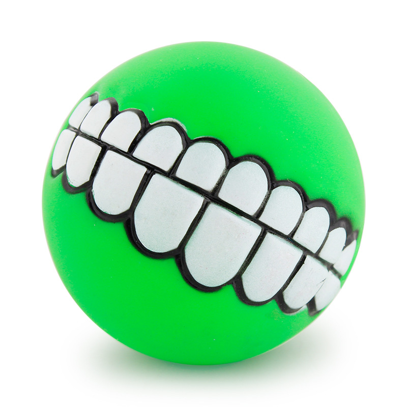 Funny Pets Dog Puppy Cat Ball Teeth Toy PVC Chew Sound Dogs Play Fetching Squeak Toys Pet Supplies 4