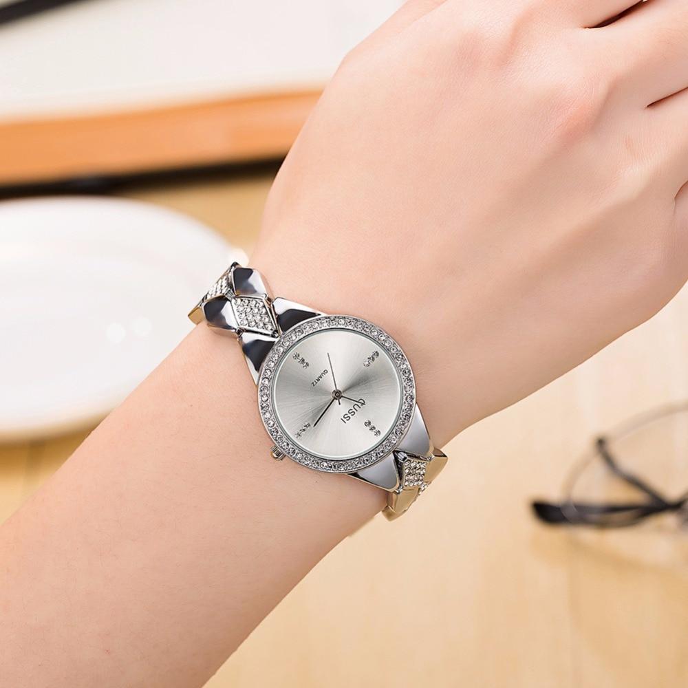 WA226 CUSSI Womens Watches Silver Luxury Rhinestone Ladies Bracelet Watches Fashion Dress Quartz Wristwatch reloj mujer Gifts in Women 39 s Watches from Watches