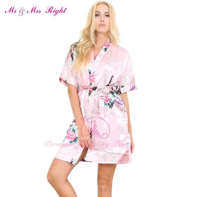 577a9edd93 New Short Sexy Wedding Gown Women s Bathrobes Silk Robe Girl Nightgown Sleepwear  Satin Bath Robes Royal Kimono Summer Skirts