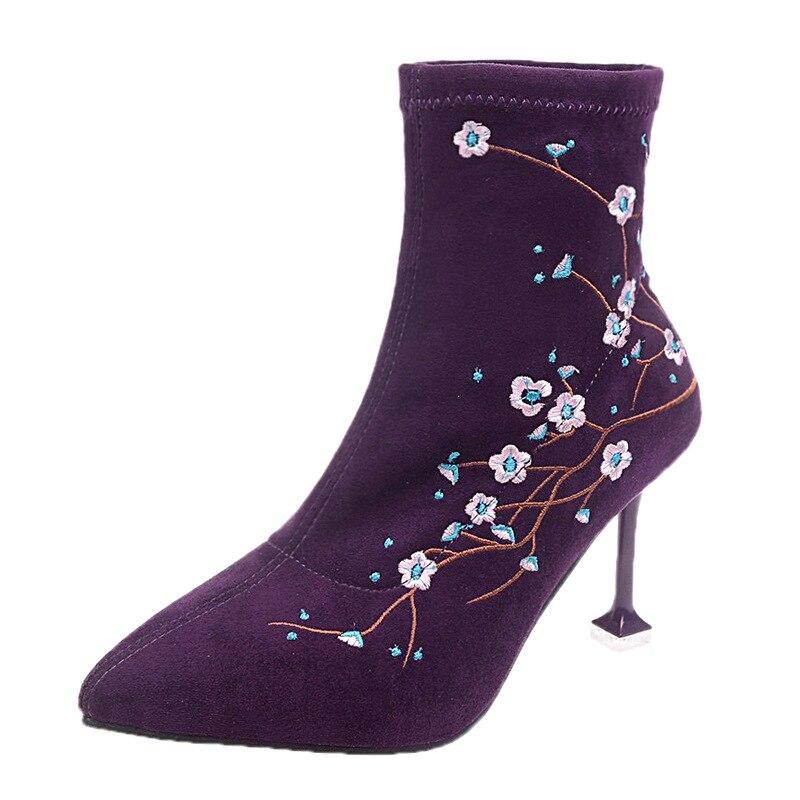 Mince pourpre Pointu Hiver Bottes Martin Chaussette Stretch Chaussures Haute Pourpre Cheville Botas Fleur Bout Talons Noir Broder Femmes 6qnwFzRc