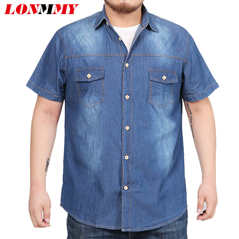 LONMMY 7XL 8XL Denim shirts men dress Jeans blusas masculina Casual shirts for men Short sleeves cotton man shirts high quality