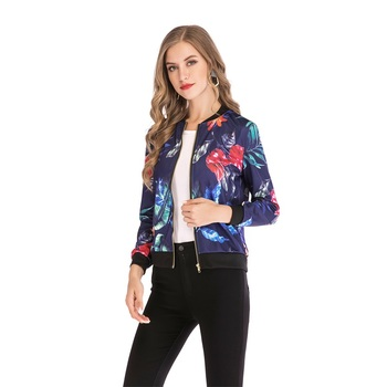 2019 Hot Fashion Coats And Jackets Women Flower Printing Long Sleeve Tops Zipper Jacket Outwear Slim Ladies  Clothes Coat S-XXL