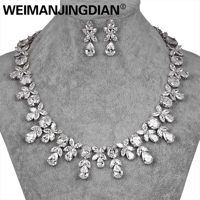 WEIMANJINGDIAN Brand Luxury Waterdrop and Flower Cubic Zirconia Crystal Necklace and Earring Bridal Wedding Jewelry Set цены онлайн