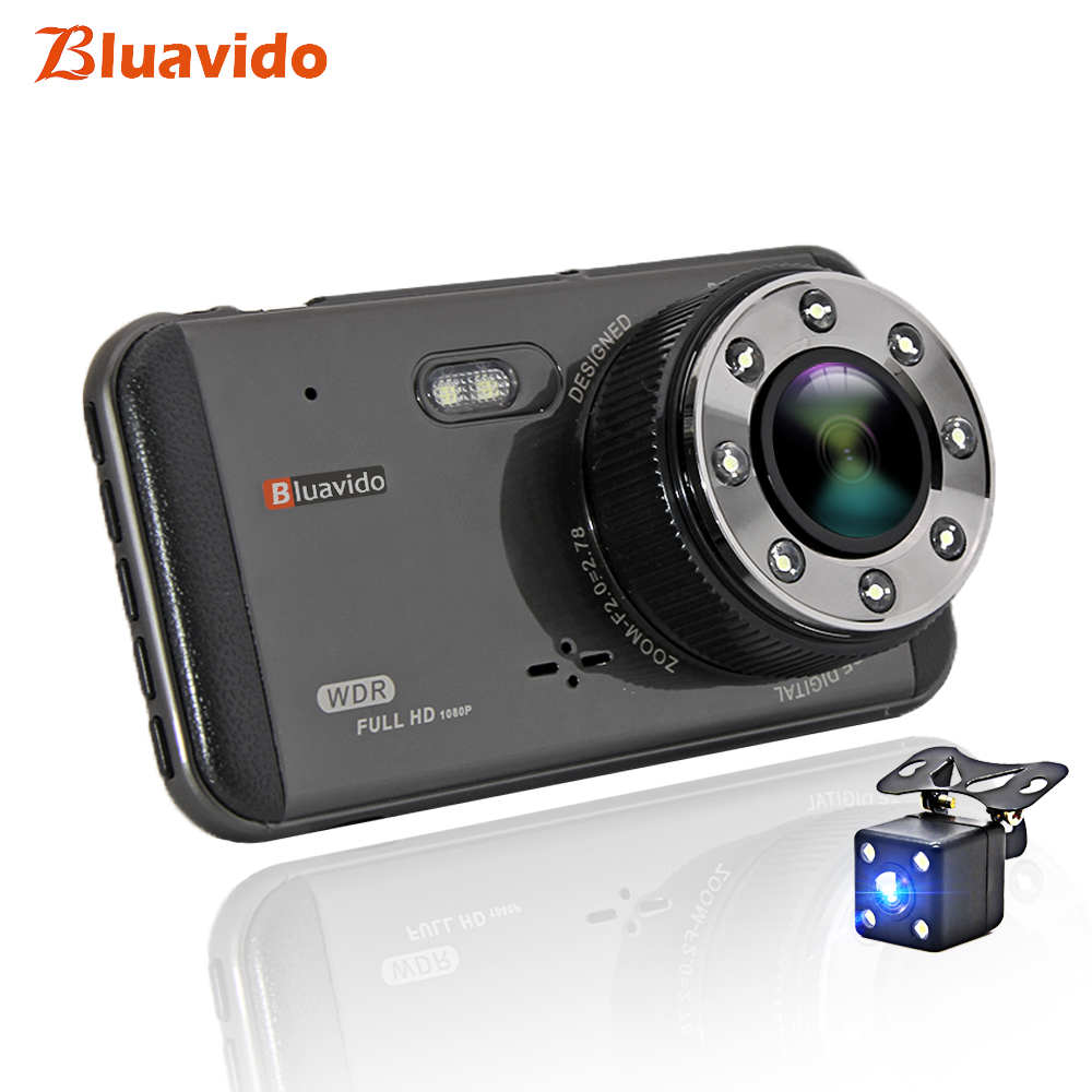 Bluavido 4 Inch <font><b>Car</b></font> <font><b>DVR</b></font> Dash Camera FHD 1080P WDR Night vision auto Video Recorder registrator <font><b>with</b></font> <font><b>two</b></font> <font><b>cameras</b></font> 170 Degree image