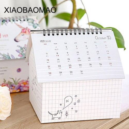 1 Stück Kawaii Kalender 2019 Kalender Klapp Haus Desktop Kalender Papier Kreative Multifunktions Hinweis Kalender Desktop Storage Box