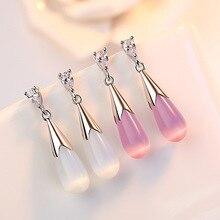 Trendy Water Drop Opal Stone Cubic Zirconia 925 Sterling Silver Ladies Stud Earrings Original Jewelry For Women Shipping