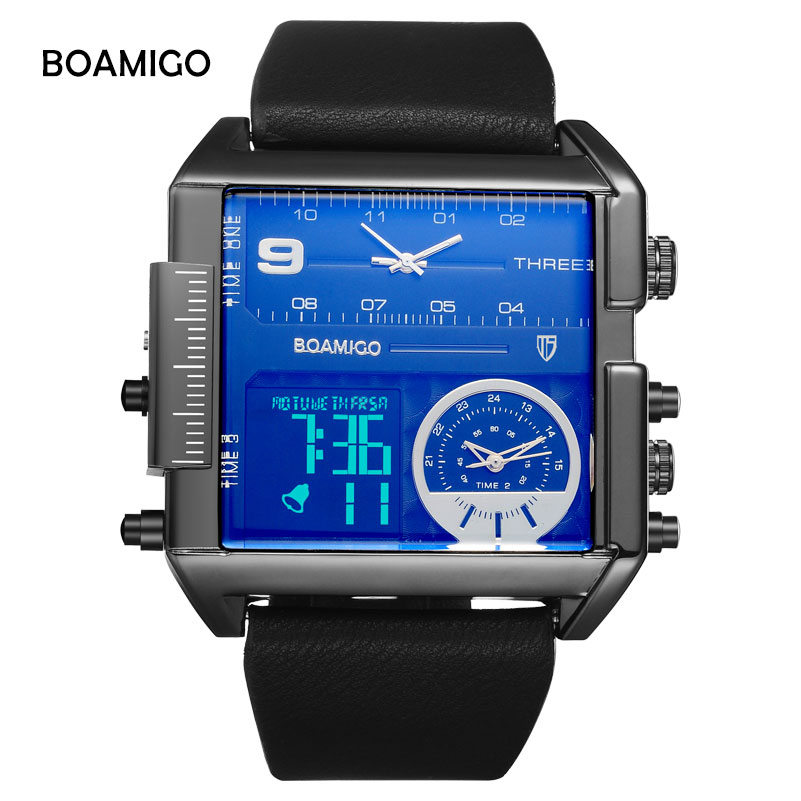 BOAMIGO Top Brand Men Sports Watch3 Time Zone Big Man Fashion Watches Leather Rectangle Quartz Wristwatches Relogio Masculino