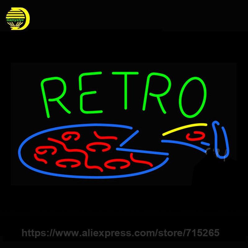 retro pizza neon sign beer bar pub decorate glass tube. Black Bedroom Furniture Sets. Home Design Ideas