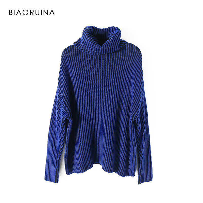 BIAORUINA Women's Ovrrsized Turtleneck Sweater Ladies High Quality Chic Contrast Color Striped Solid Knitted Sweater Pullovers