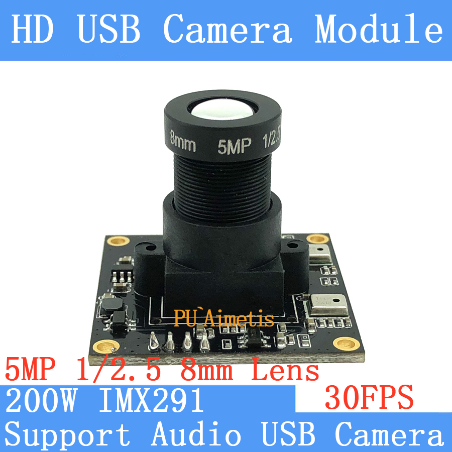 PU`Aimetis SONY IMX291 star level Surveillance camera 5MP 8mm 1920*1080P 30FPS Linux UVC 2MP USB Camera Module Support audio