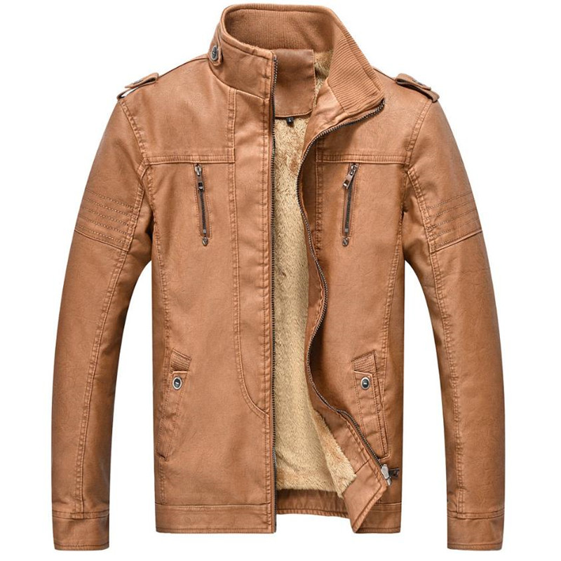 2017 Hot autumn and winter quality men s leather jacket warm jacket Motorcycle clothing casual men