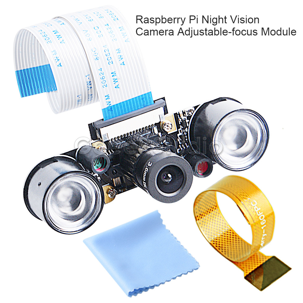 Raspberry Pi Night Vision 5MP OV5647 Camera Adjustable-focus Module Kit With FFC Cables For Raspberry Pi 4B/ 3B+/ Zero/ 3B/ 2B