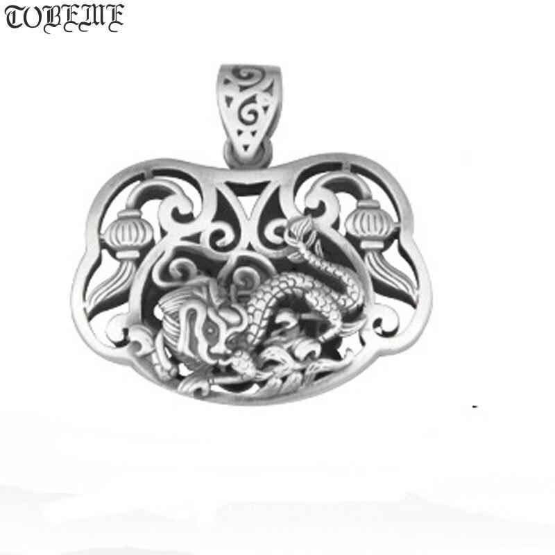 Fait à la main 100% 990 argent chanceux symbole pendentif Vintage pur argent Dragon pendentif bonne chance femmes pendentif collier