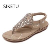 SZiVan New Arrival Fashion Sandals Rhinestone Flats Bohemia Women Summer Style Shoes Women Flat Flip Flops