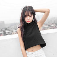 Summer Women Vest Tank Tops Flounce Tail Top High Neck Camis Crop Top Clothes Short Type