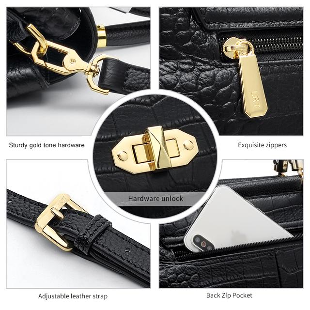 Laorentou Brand High Fashion Women Qualities Handbags Lady Alligator Vintage Crossbody Bag Female Elegant Shoulder Bag