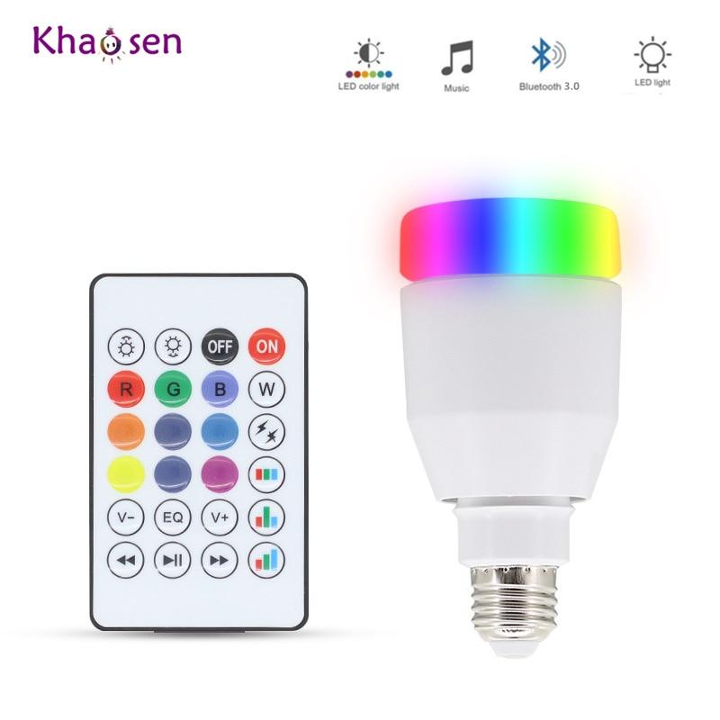 Bluetooth 3.0 E27 LED Lamp Music Speaker Player Light RGBW LED Bulb 110V 220V 5050 RGB 2835 White Smart Wireless Lamp Dimmable цена