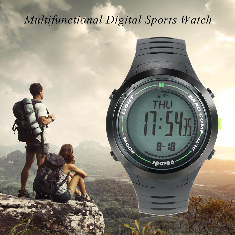SPOVAN 5ATM Digital Compass Altimeter Weather Forecast Pedometer Multifunctional Sports Watch Digital Barometer Thermometer
