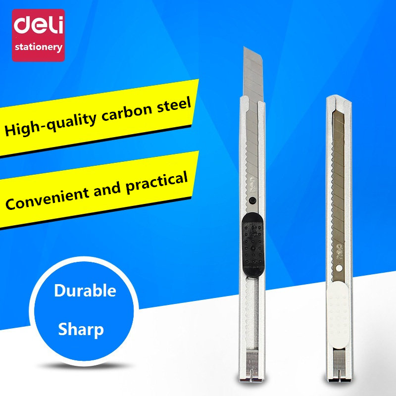 DeLi High Quality Utility Knife Small Foil Paper Cutter Auto-lock Wallpaper Knife Open Box Cutter Blade Home Office School Tool