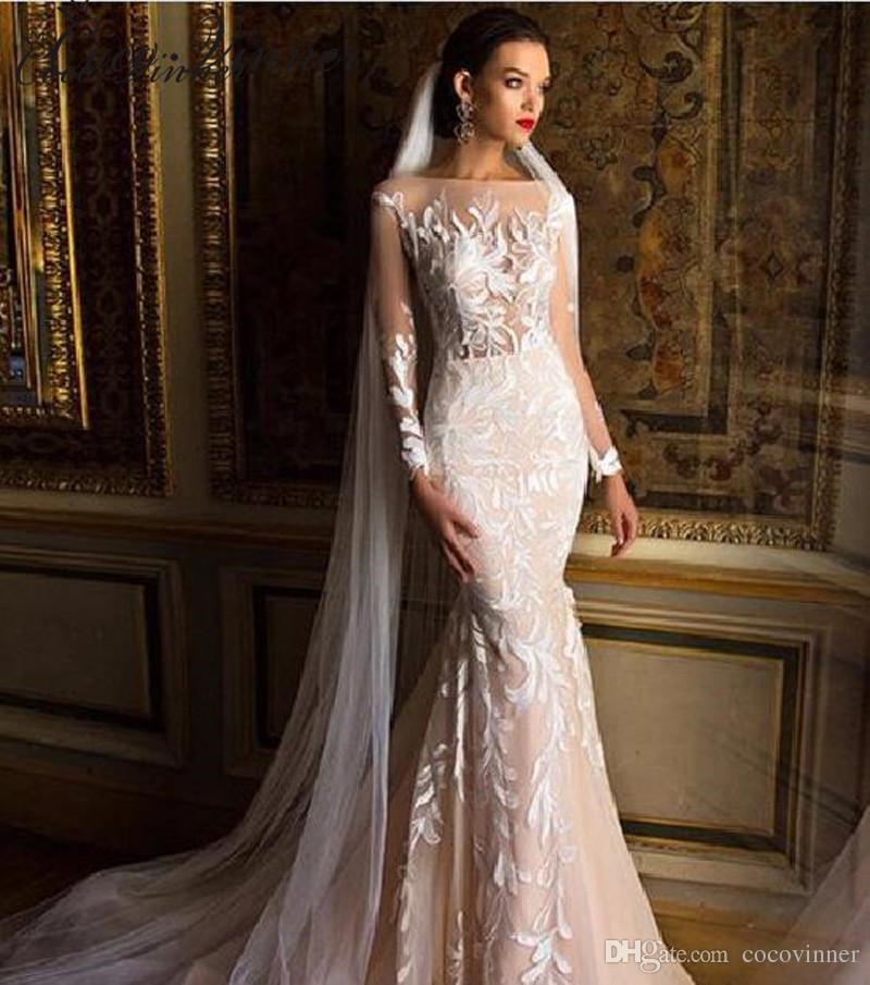 2019 Quality Mid East Mermaid Wedding Dresses Full Sleeves Embroidery Applique Plus Size Illusion Sexy Wedding Gown W0218