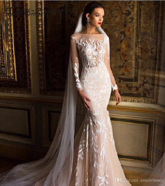 C V 2018 Quality Mid East Mermaid Wedding Dresses Full Sleeves Embroidery Lique Plus Size Illusion Y Gown W0218 In From