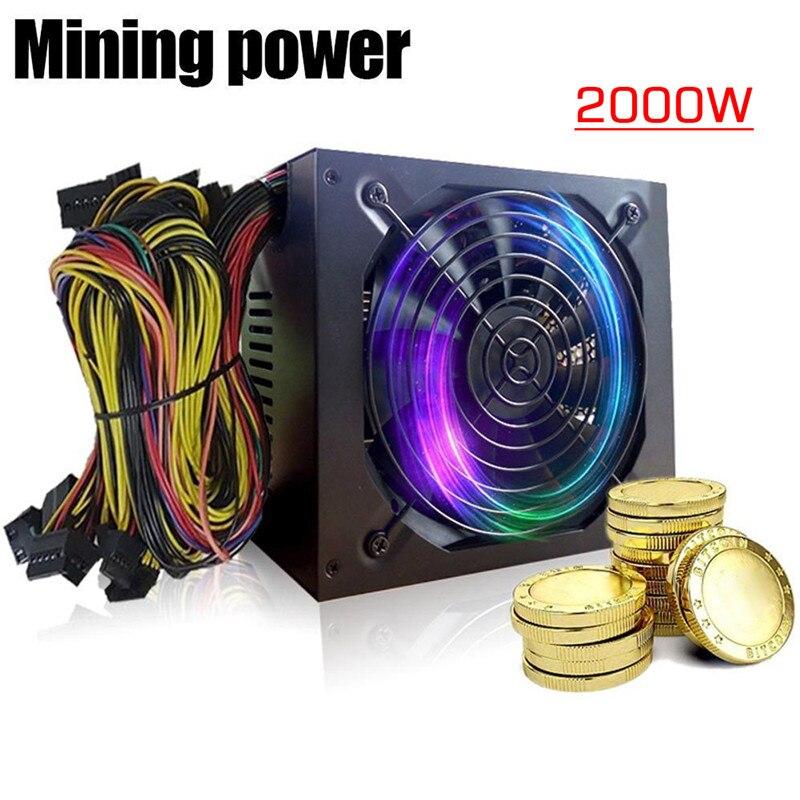 1 шт. золото Питание ETH БТД горной ATX SATA IDE Поддержка 8 GPU Эфириума PC Питание для компьютера миннер машины