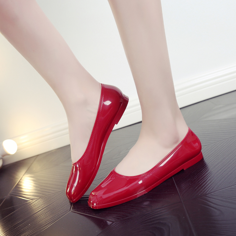 SWYIVY Plastic Jelly Shoes Rianboots Woman 2018 Summer Simple Design Female Non-slip Flat Rian Boots Waterproof Rainboots Woman