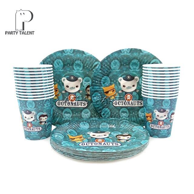 Вечерние поставки 48 шт Sea Octonauts вечерние на день рождения для детей набор посуды 24 шт десертные тарелки посуды и 24 шт чашки очки