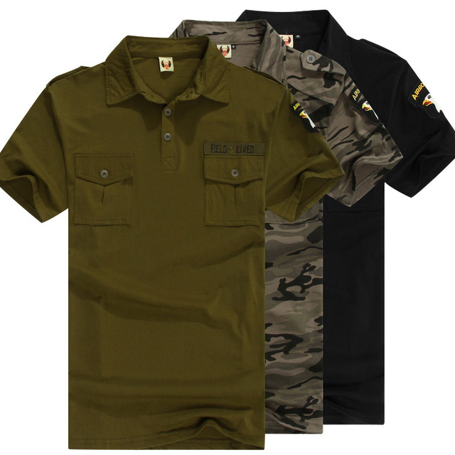 dd6cee8ed Uniforme militar verde del ejército camisetas de algodón para hombre de  verano de manga corta camuflaje
