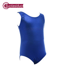 Kids Blue Leotards Lycra Spandex Sleeveless  Girls Gymnastics Dancewear Toddler Baby Dance Costumes