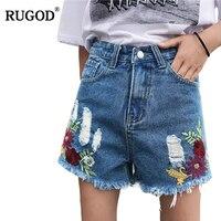 RUGOD Casual Women Jeans Shorts 2018 New Arrival Spring Summer Autumn High Waist Female Denim Shorts Floral Short jeans femme