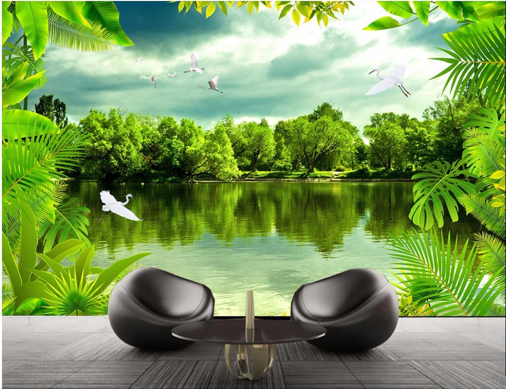 Custom mural photo 3d wallpaper natural landscape of the rainforest decoration painting 3d wall murals wallpaper for walls 3 d hammock hanging belt tree strap nylon rope outdoor camping tool with buckles store 207