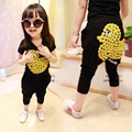 2016 Fashion children's clothing for boys and girls sets yellow duck short sleeve T-shirt + harem pants suit children clothes