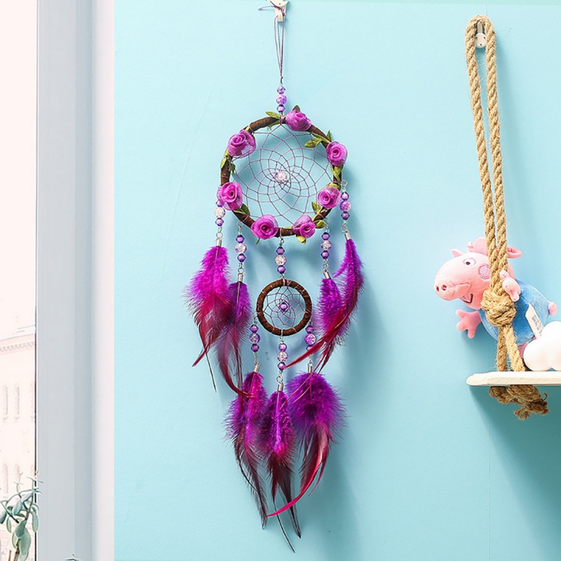 Handmade Dream Catcher Feather Colorful Living Room Garden Hanging Pendant Home Car Hanging Decor Dream Catcher Ornament