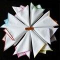 Простой Стиль Бизнес Твердые Белые Платки с Цвет Сторона Свадьба Хлопок Карманный Площадь Полотенце для Мужчин Костюм Платок